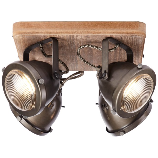 Brilliant 72035/84 Carmen Wood Spotplatte, 4-flammig Metall/Holz
