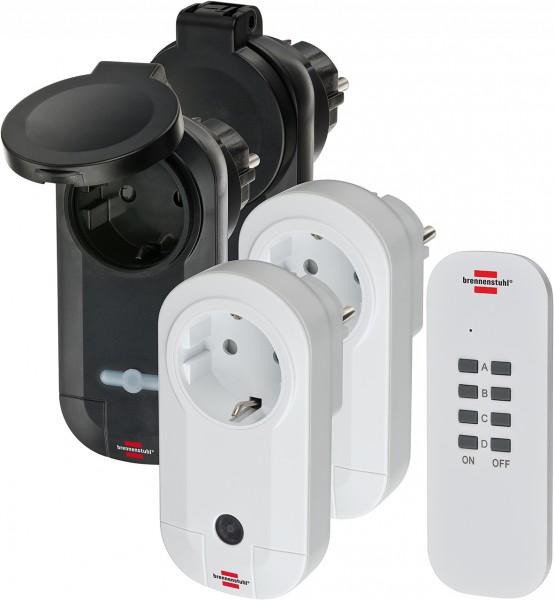Brennenstuhl Comfort-Line Funkschalt-Set 2x IP20 + 2x IP44 1x 4-Kanal-Handsender, 2x Funk-Schaltempf