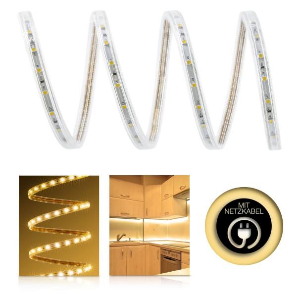 230V LED Streifen Set | warmweiß | Anschlusskabel und Fernbedienung | 1 bis 100m wählbar | IP68