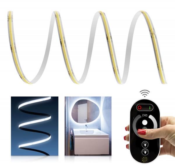 24V COB LED Streifen Funk-Set | IP65 | kaltweiß | inkl Fernbedienung & Netzteil 72W | 1-7m
