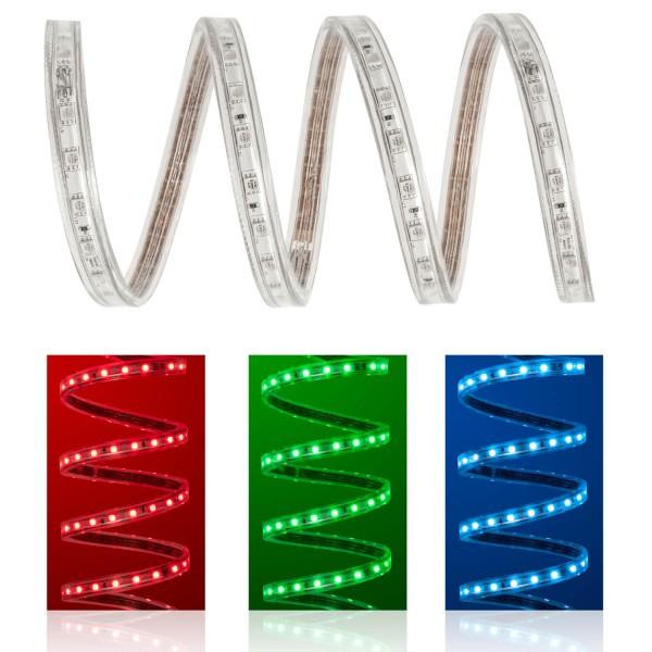 230V LED Streifen Set | RGB | Anschlusskabel und Fernbedienung | 1 bis 50m wählbar | IP68
