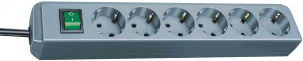 Brennenstuhl Eco-Line Steckdosenleiste mit Schalter 6-fach 1,5m Kabel silbergrau