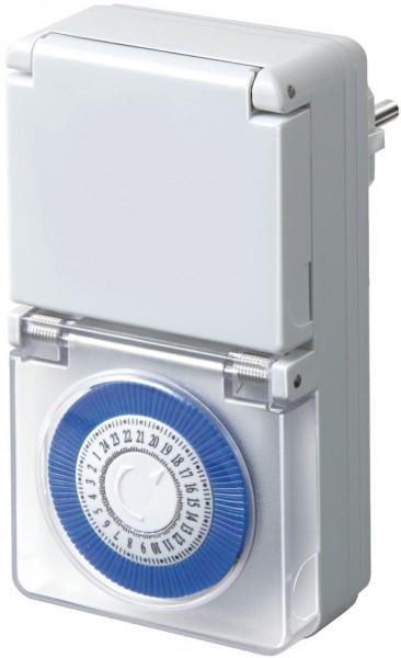 Brennenstuhl Zeitschaltuhr MMZ 44, mechanische Timer-Steckdose (Tages-Zeitschaltuhr, IP44 geschützt,