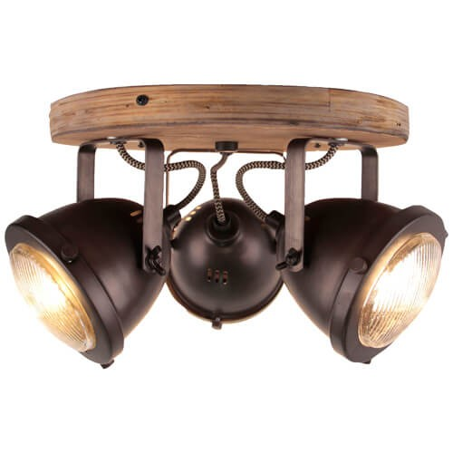 72034/84 Carmen Wood Spotrondell, 3-flammig Metall/Holz burned steel/holz