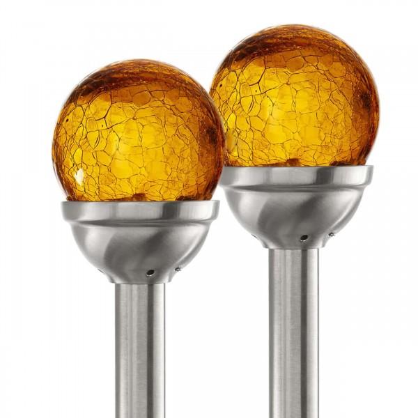 """Star Trading 479-83 LED-Solar-Stäbe """"Roma"""", 2er Set silber/ orange"""