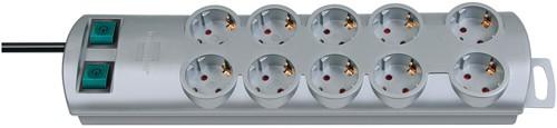 Brennenstuhl Primera-Line Steckdosenleiste 10-fach, 2x 5-fach schaltbar, 2m Zuleitung, silber