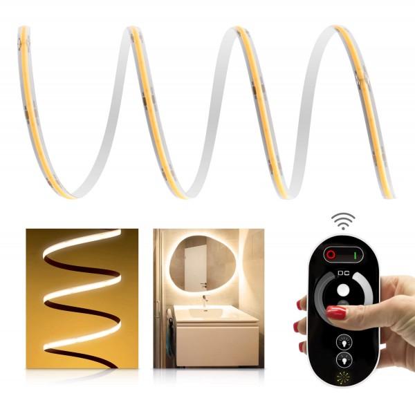 24V COB LED Streifen Funk-Set | IP65 | warmweiß | inkl Fernbedienung & Netzteil 72W | 1-7m