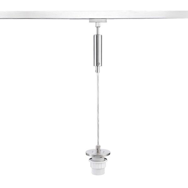 M6 Licht / HV-Track4 54221 Pendel o. Glas, 1-flg. E27 max.40W nickel matt / Kabel transparent