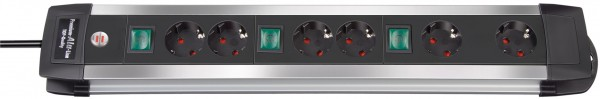 Brennenstuhl Premium-Alu-Line Technik Steckdosenleiste 6-fach 3m H05VV-F 3G1,5 2 permanent 4 schaltb