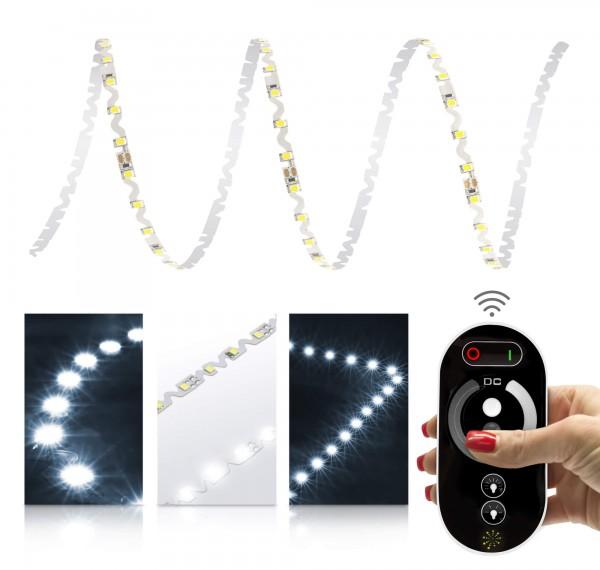 24V LED S-Shape Streifen Set | kaltweiß | Trafo und Fernbedieung | 1 bis 9m wählbar | IP20