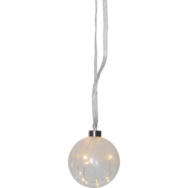 """""""Glow"""" Glaskugel, transparent/ milchig, 15 ww LED, 11 cm Ø"""