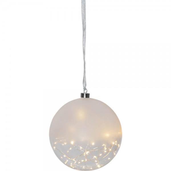 """""""Glow"""" Glaskugel, transparent/ milchig, 50 ww LED, 20 cm Ø"""