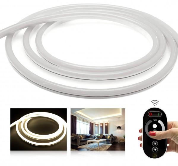 24V LED NeonFlex Streifen Set | warmweiß | Trafo und Fernbedienung | 1 bis 10m wählbar | IP68