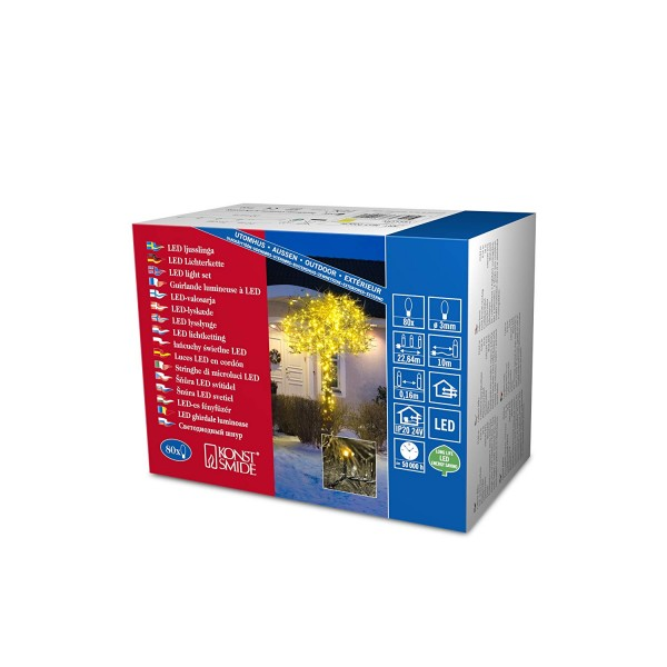 Konstsmide 3611-000 | Micro LED Lichterkette | 80 gelbe LEDs | schwarzes Kabel | Außen | Deko