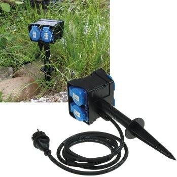 ChiliTec Gartensteckdose mit Erdspieß, 4-fach, IP44, 10m Kabel