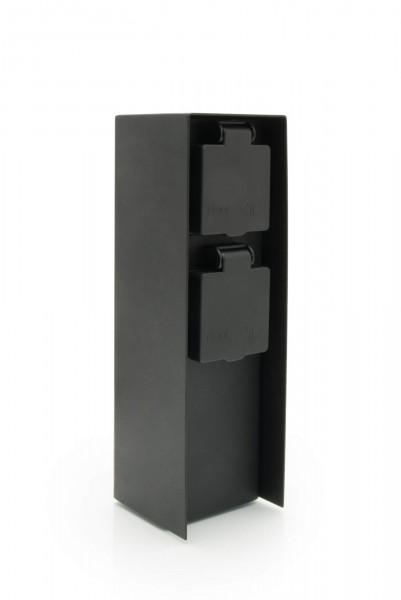 Außensteckdose 2 Steckplätze Metall schwarz matt