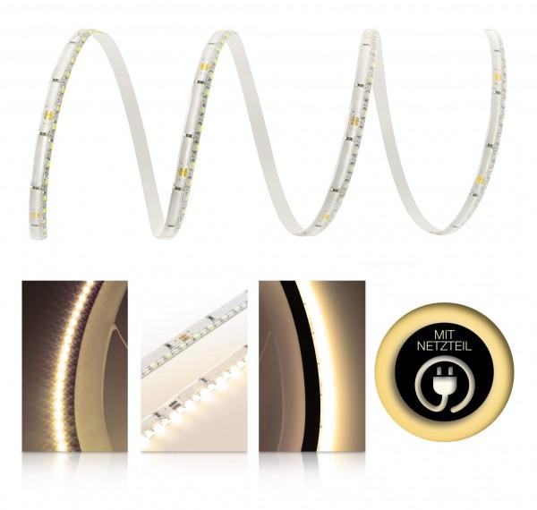 24V LED SideView Streifen Set | warmweiß | Trafo | opt Schalter | 1 bis 9m wählbar | IP65