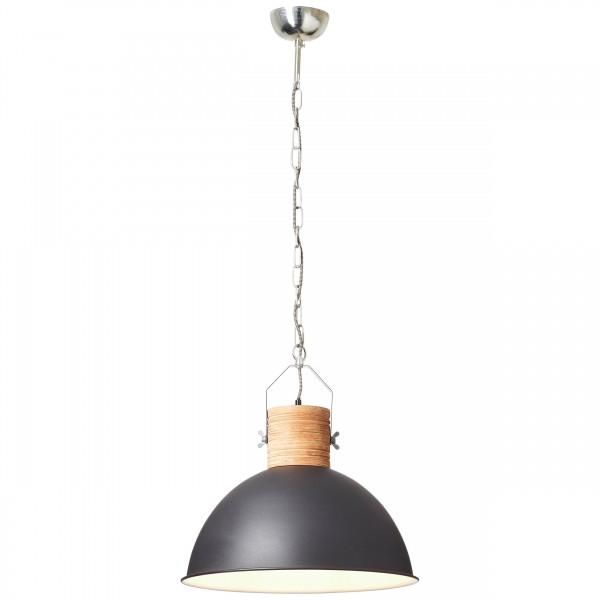 Brilliant 93668/76 Frida Pendelleuchte 48cm Holz/Metall schwarz/holzfarbend