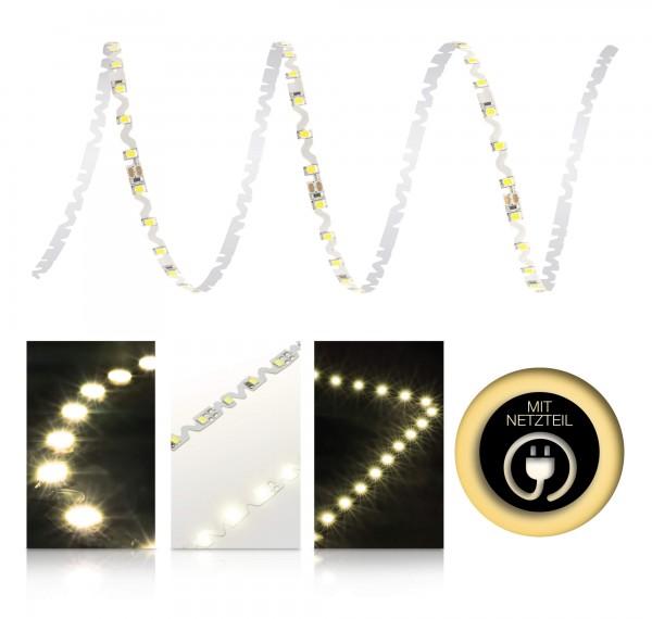 24V LED S-Shape Streifen Set | warmweiß | Trafo | opt Schalter | 1 bis 9m wählbar | IP20