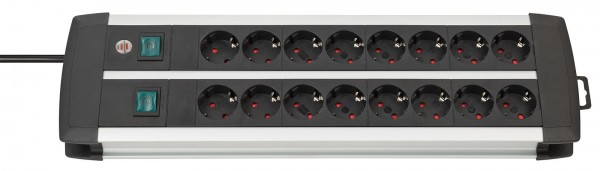 Brennesntuhl Premium-Alu-Line Technik Steckdosenleiste 16-fach Duo schwarz 3m H05VV-F 3G1,5 8-fach s