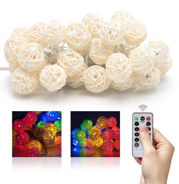 LED Lichterkette Batterie Janka - Rattan-Ball 30 LEDs