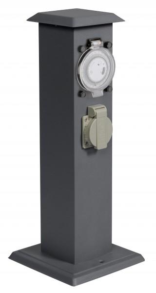 Energiesäule Edelstahl anthrazit mit 2 Steckdosen und Zeitschaltuhr