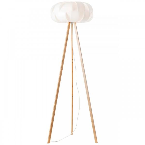 Brilliant 93046/75 Addi Standleuchte, dreibeinig Bambus/Kunststoff holz hell/wei?