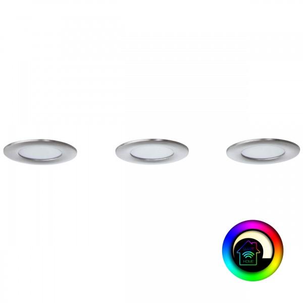 Brilliant G94693/68 Tanel WiZ Einbauleuchtenset: 3 Stück, fest Metall/Kunststoff - nickel