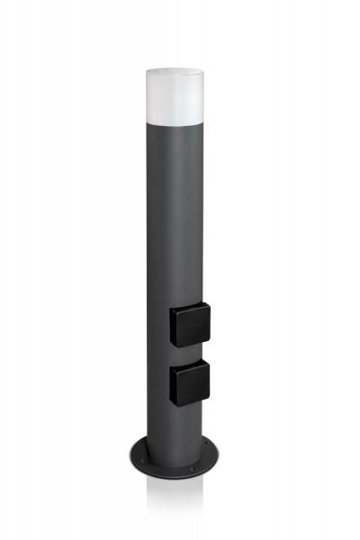 Wegeleuchte rund 60 cm anthrazit mit 2 Steckdosen