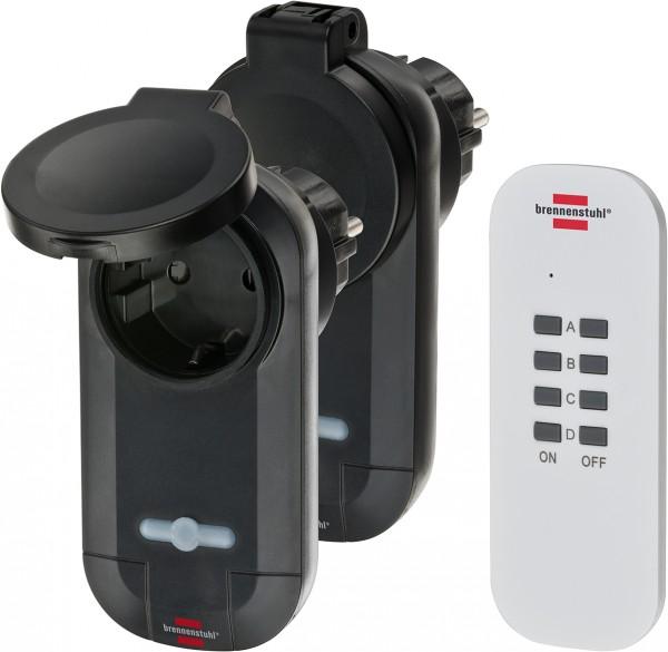 Brennenstuhl Funkschalt-Set RC CE1 0201, 2er Funksteckdosen Set (Außenbereich IP44, mit Handsender u