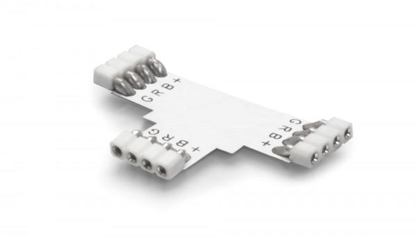 1er SET T-Verbinder (weiß) 4 polig inkl. 3 Lötstifte für RGB LED Streifen