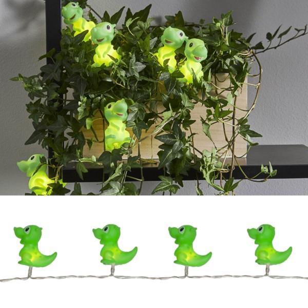 """729-24 LED-Party-Kette """"Polly"""", 10-tlg, grüne Dinosaurier"""