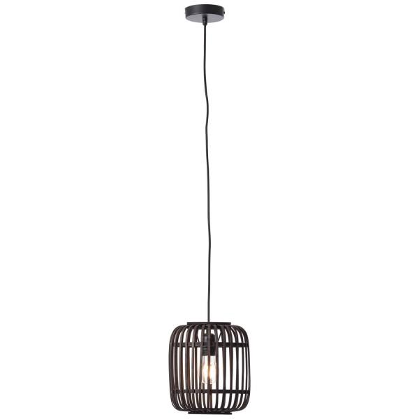 Brilliant 93777/76 Woodrow Pendelleuchte, 1-flammig (21cm) Metall/Bambus holz dunkel/schwarz