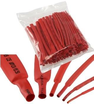 Schrumpfschlauch-Sortiment, 100-teilig, in Sortimentstüte, rot