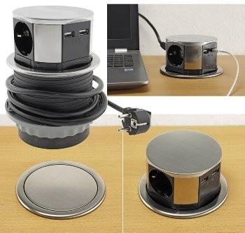 Schreibtisch-Einbausteckdose 3x + 2xUSB, versenkbar, Edelstahl-Ausführung, rund