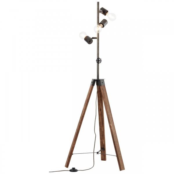 93724/76 Woodhill Standleuchte, 1-flammig Metall/Holz antik/schwarz
