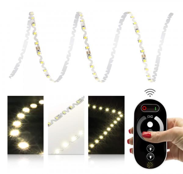 24V LED S-Shape Streifen Set | warmweiß | Trafo und Fernbedienung | 1 bis 9m wählbar | IP20