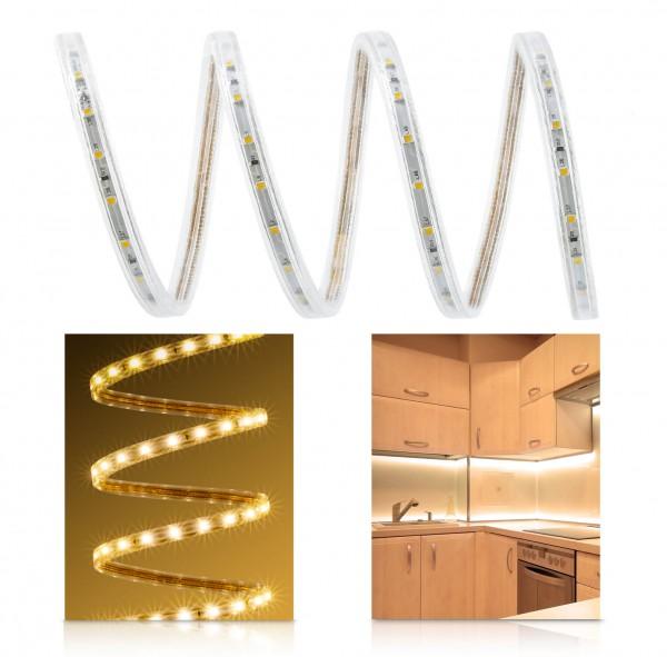 230V LED Streifen Set | warmweiß | Anschlusskabel | 1 bis 100m wählbar | IP68