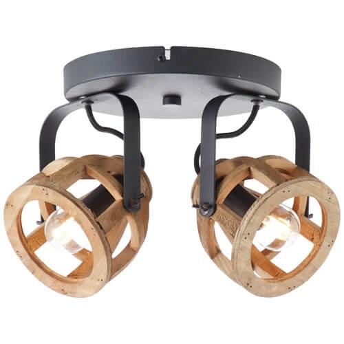 86624/76 Matrix Wood Spotrondell, 2-flammig Metall/Holz schwarz/natur
