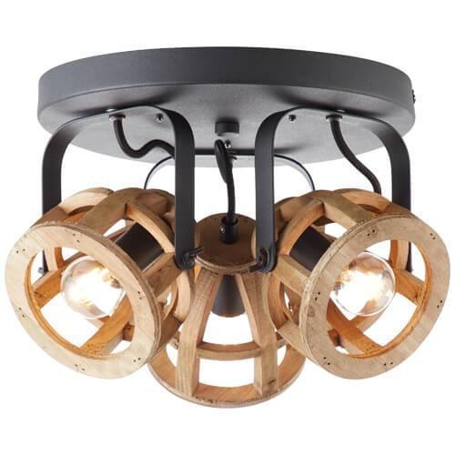 86634/76 Matrix Wood Spotrondell, 3-flammig Metall/Holz schwarz/natur
