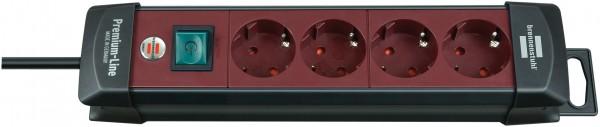 Brennenstuhl Premium-Line 4-fach Steckdosenleiste Schalter 1,8m Kabel schwarz/rot