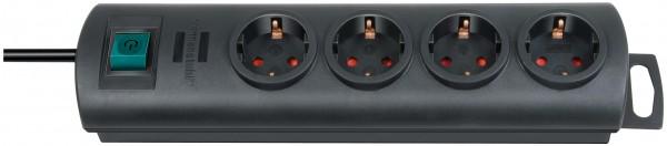 Brennenstuhl Primera-Line, Steckdosenleiste 4-fach (Steckerleiste mit Schalter und 1,5m Kabel, 90° A