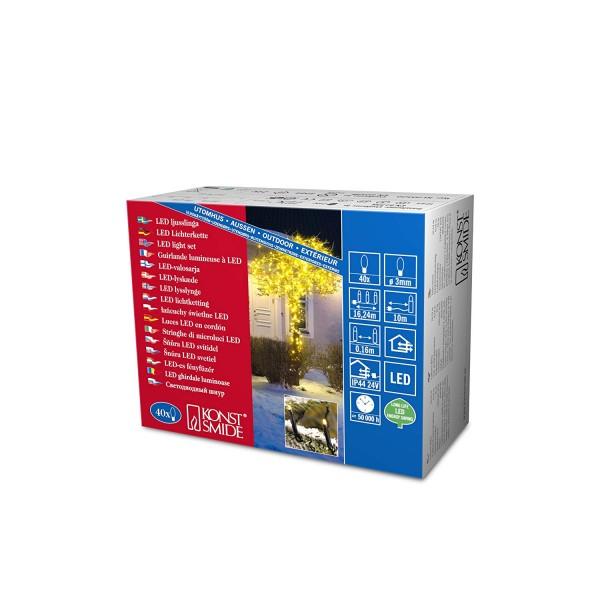 Konstsmide 3610-000 | Micro LED Lichterkette | 40 gelbe LEDs | schwarzes Kabel | Außen | Deko
