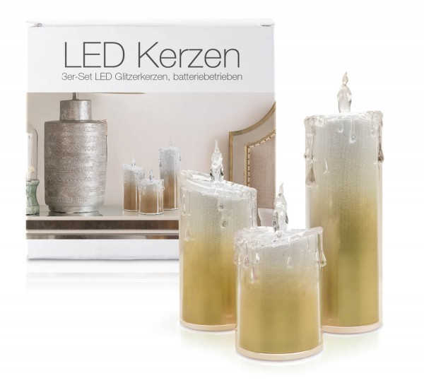 "LED Acryl Glitzer Kerze Gold 3er Set ""Liza"""