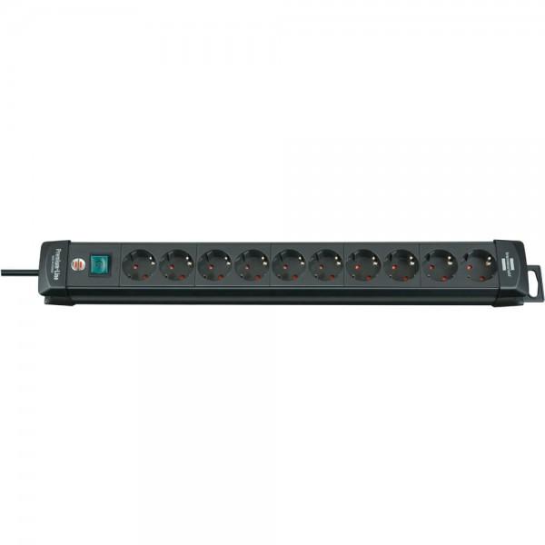 Brennenstuhl Premium-Line, Steckdosenleiste 10-fach (Steckerleiste mit Schalter und 3m Kabel -45° Wi