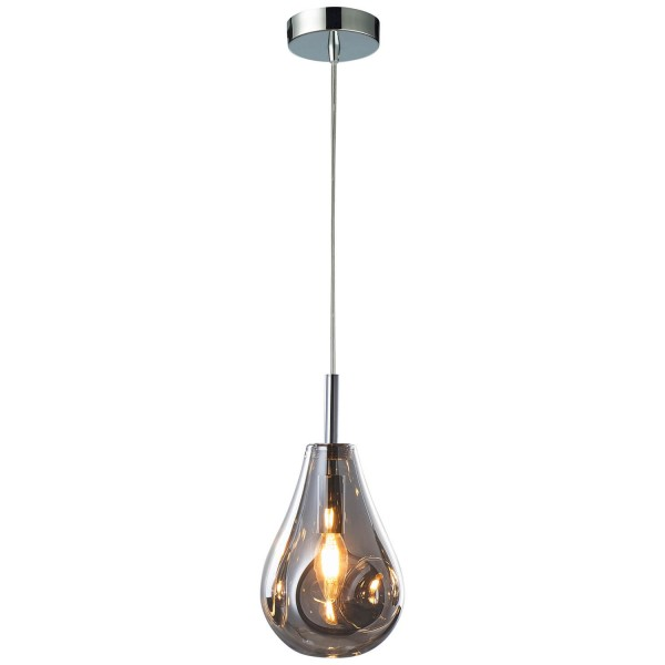 Living 99276/93 Drops Pendelleuchte, 1-flammig Glas/Metall rauchglas/chrom