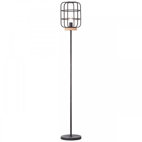 Brilliant 93073/66 Gwen Standleuchte, 1-flammig Metall/Holz antik holz/schwarz korund