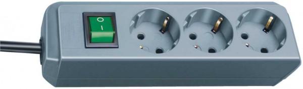 Brennenstuhl Eco-Line Steckdosenleiste mit Schalter 3-fach 1,5m Kabel silbergrau