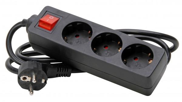 Kopp 3-fach Steckdosenleiste mit Schalter, 129715009, 1,4m Kabel, schwarz
