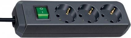 Brennenstuhl Eco-Line Steckdosenleiste mit Schalter 3-fach 1,5m Kabel schwarz